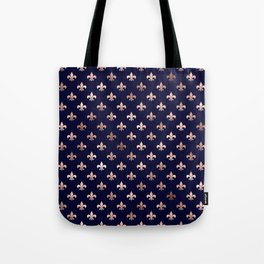 Royal Blue Rose Gold Pattern Tote Bag