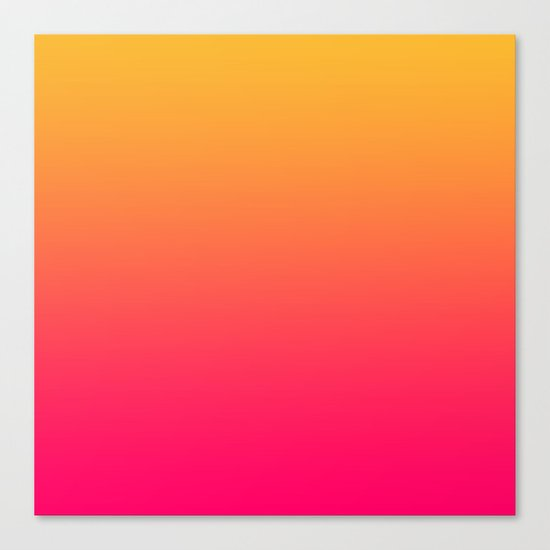 Hot Pink / Golden Heart Gradient Colors Canvas Print