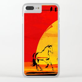 sunset horses Clear iPhone Case