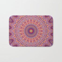 Purple Orange Red Burst Mandala 012018 Bath Mat