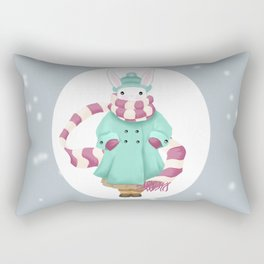 Bunny Sister Out On a Winter Day Rectangular Pillow