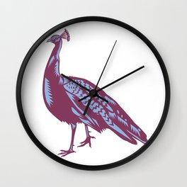 Male Indian Peacock Woodcut Wall Clock