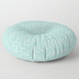 Hand painted pastel green white geometrical chevron Floor Pillow