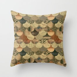 Brown Copper Glamour Mermaid Scale Pattern Throw Pillow