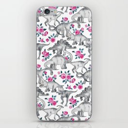 Dinosaurs and Roses - white iPhone Skin