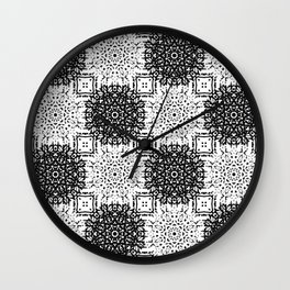Black and White Gothic Lacy Mandala and Checker Tile Wall Clock