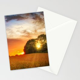 Wheat field at sunset Stationery Cards