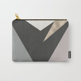 Abstract geometrical faux gold black gray triangles pattern Carry-All Pouch