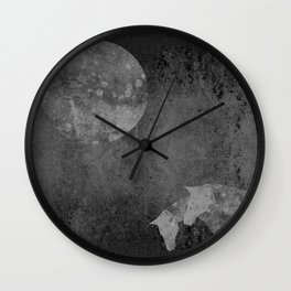 Moon with Horses in Grays Wall Clock