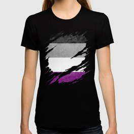 Asexual Pride Flag Ripped Reveal T-shirt