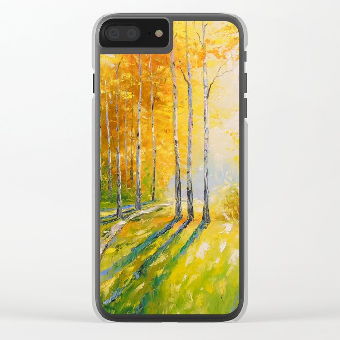 Road in a birch forest Clear iPhone Case