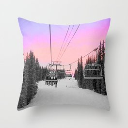 Ski Lift Sunset Shot on iPhone 4 Throw Pillow