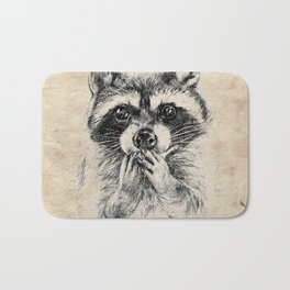 Surprised raccoon Bath Mat