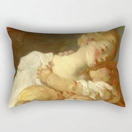 """Jean-Honoré Fragonard """"Les Baisers Maternels"""" or """"Les Jalousies de l'enfance"""" Rectangular Pillow"""