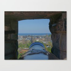 Edinburgh castle city view from Cannon pov (point of view ) Canvas Print