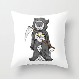 Cat Funny Reaper Death Halloween costume Cat Mom Cats Throw Pillow