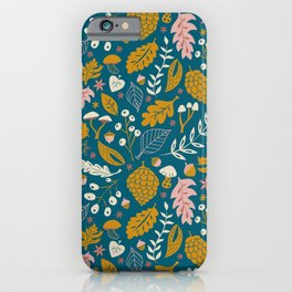 Fall Foliage in Blue and Gold iPhone Case