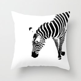 A Zebra in Black and White Throw Pillow