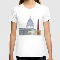 washington dc T-shirts featuring Washington DC skyline poster by Paulrommer