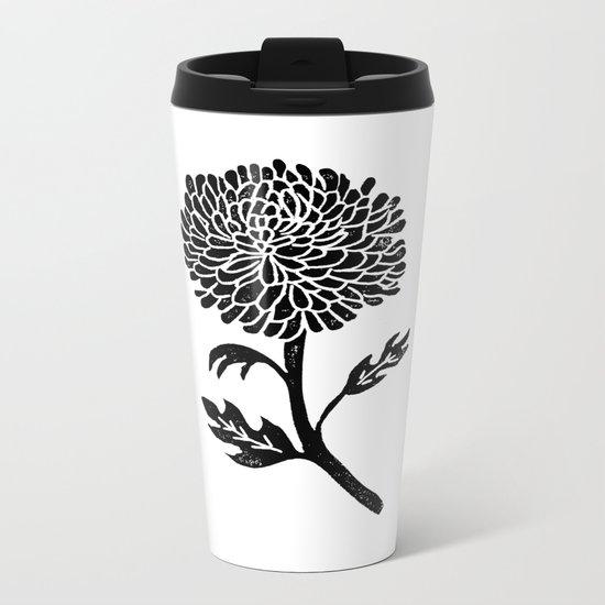Linocut flower chrysanthemum floral minimal black and white boho printmaking Metal Travel Mug