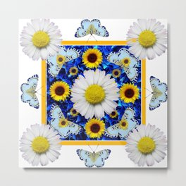 EVERYTHING'S COMING UP DAISIES & BUTTERFLIES  BLUE  ART Metal Print