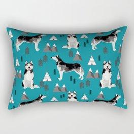 Husky siberian huskies mountains pet portrait dog dogs pet friendly dog breeds gifts Rectangular Pillow
