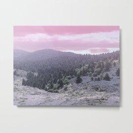 Pink Sunset on Mountains Metal Print