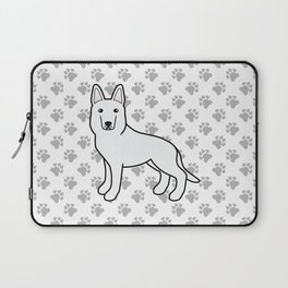 White Shepherd / White German Shepherd Dog Cartoon Illustration Laptop Sleeve
