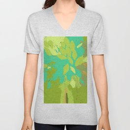 Tree in felted wool, spring summer green teal blue mixed media Unisex V-Neck