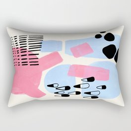 Fun Colorful Abstract Mid Century Minimalist Pink Periwinkle Cow Udder Milk Organic Shapes Rectangular Pillow