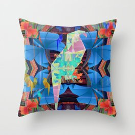 Origami Parrot Butterfly Tribal Tropical Floral Throw Pillow