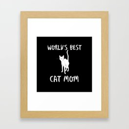 World's Best Cat Mom Cute Animal Typography Art Framed Art Print