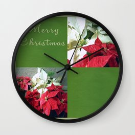 Mixed color Poinsettias 3 Merry Christmas Q5F1 Wall Clock
