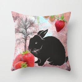 Black Rabbit and Strawberries Throw Pillow