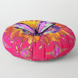 Rainbow Colored Butterfly On Red-fuchsia Sunflower Floral  Floor Pillow