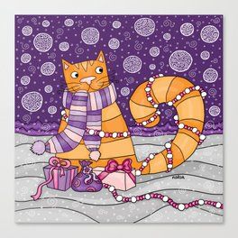 Happy winter cat Canvas Print