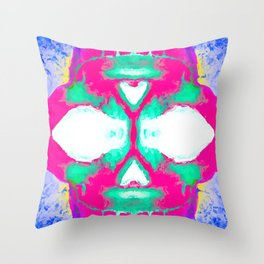 smiling pink skull head with blue and yellow background Throw Pillow
