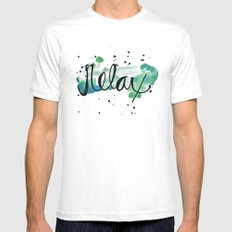 Relax MEDIUM White Mens Fitted Tee