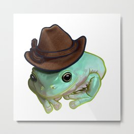 Howdy Howdy Cowboy Frog Funny Halloween Pet Costume Metal Print