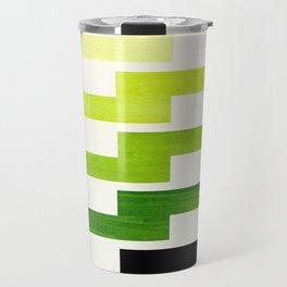 Minimalist Mid Century Modern Sap Green Watercolor Painting Lightning Bolt Zig Zag Pattern With Blac Travel Mug