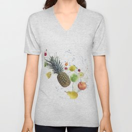 Fresh fruits and berries  with water splash Unisex V-Neck