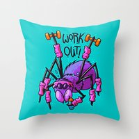 workout Throw Pillows featuring Workout Spider by Artistic Dyslexia