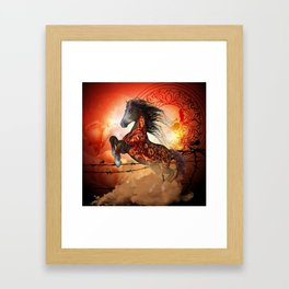 Awesome creepy running horse with skulls Framed Art Print