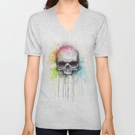 Skull Rainbow Watercolor Unisex V-Neck