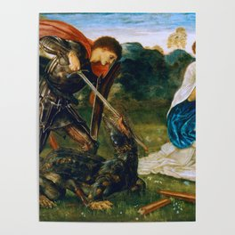 St George kills the dragon VI by Edward Burne-Jones. Poster
