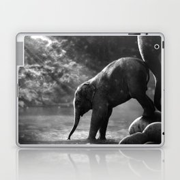 Baby elephant with mother Laptop & iPad Skin