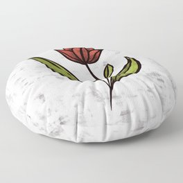Beautiful Flower In Red Green With Distressed Texture Floor Pillow
