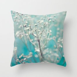 Ice blue - floral Throw Pillow