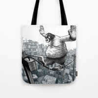 furry Tote Bags featuring Furry Fingers by Jason Tirendi