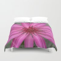 indonesia Duvet Covers featuring water lily (Bali, Indonesia) by Christian Haberäcker - acryl abstract